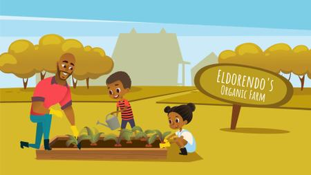 Plantilla de diseño de Farming and Gardening with Kids and Father Working Full HD video