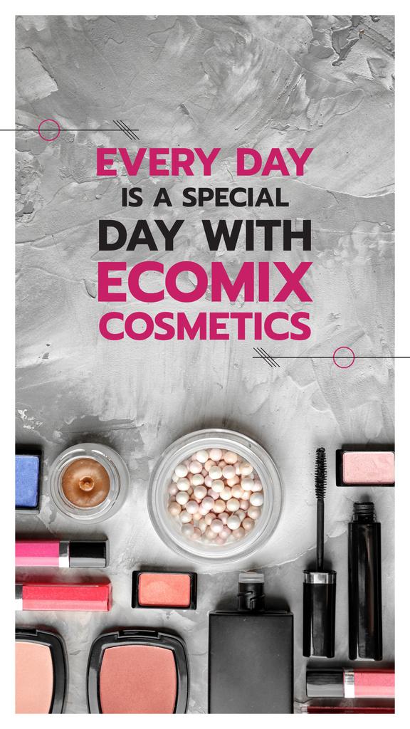 Ontwerpsjabloon van Instagram Story van Makeup Brand Promotion with Cosmetics Set