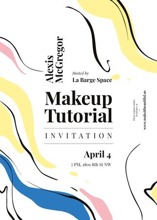Ontwerpsjabloon van Invitation van Makeup Tutorial invitation on paint smudges