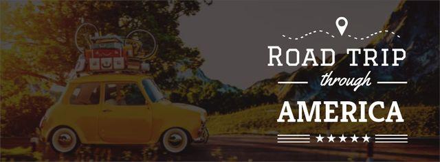 Plantilla de diseño de Road trip Offer with old car Facebook cover