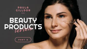 Beauty Blog Ad Woman Applying Serum