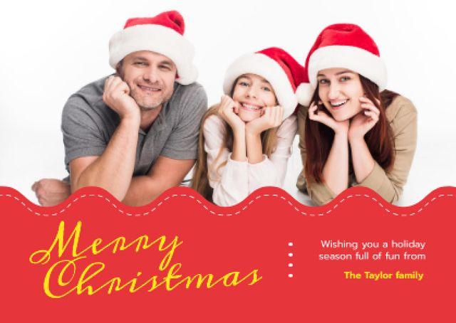Plantilla de diseño de Merry Christmas Greeting Family in Santa Hats Card