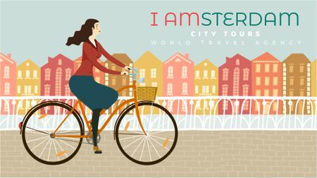 Plantilla de diseño de City Tour Ad Girl Cycling in Amsterdam Full HD video