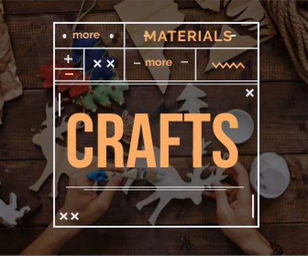 Template di design more materials more crafts banner for handmade workshop Large Rectangle