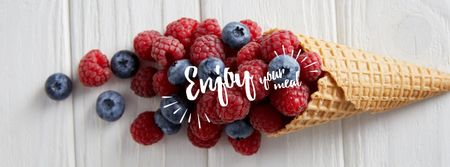 Raspberries and blueberries in cone Facebook cover Design Template