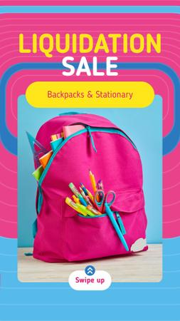 Back to School Sale Stationery in Pink Backpack Instagram Story Modelo de Design