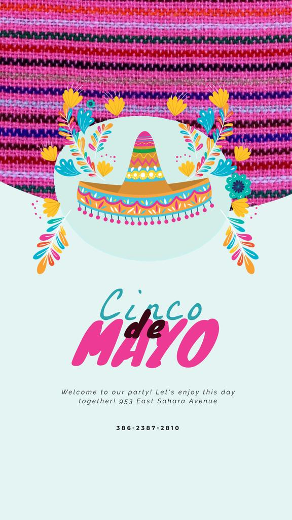 Cinco de Mayo Mexican Sombrero in Flowers | Vertical Video Template — Maak een ontwerp
