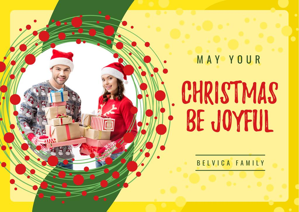 Merry Christmas Greeting Couple with Presents — Crear un diseño