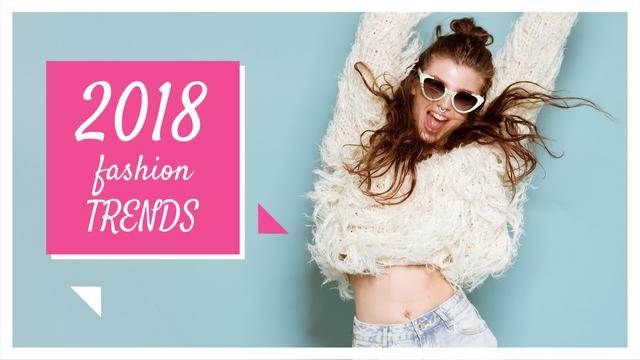 Fashion Ad Jumping Girl in Sunglasses  Youtube Thumbnail Πρότυπο σχεδίασης