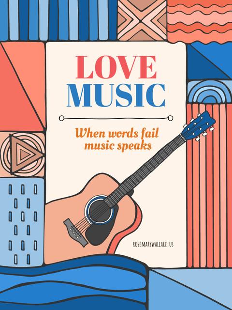 Plantilla de diseño de Music Inspiration Quote with Acoustic Guitar Poster US