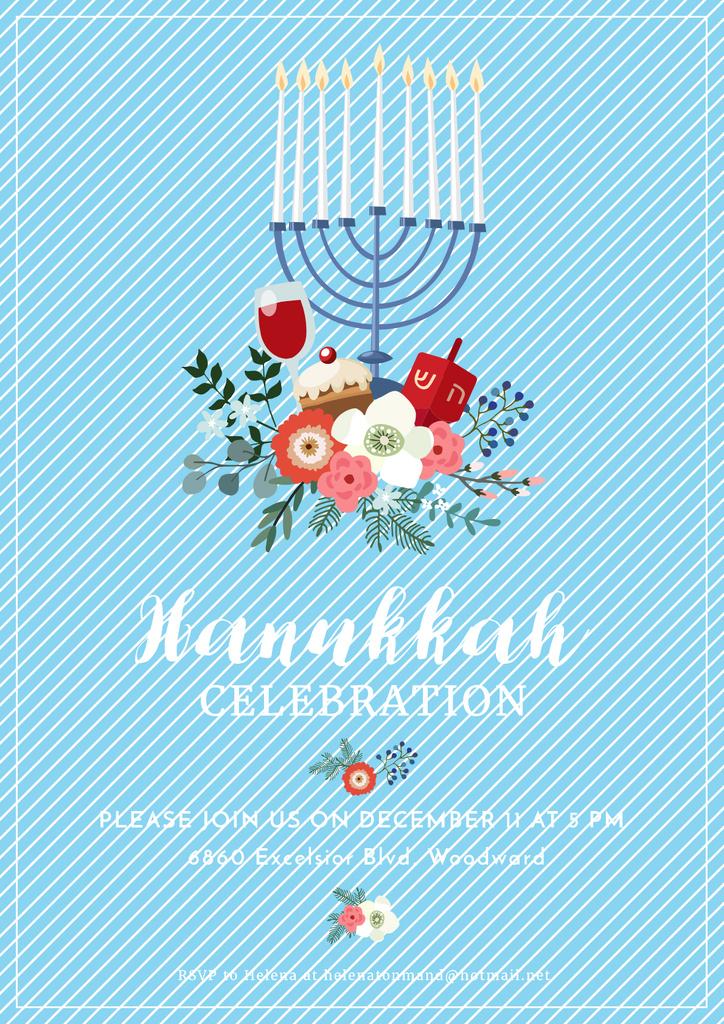 Invitation to Hanukkah celebration — Crear un diseño
