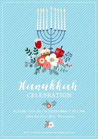 Plantilla de diseño de Invitation to Hanukkah celebration Poster