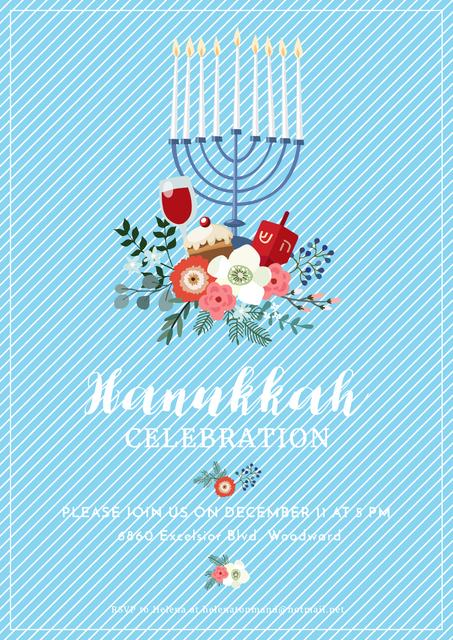 Ontwerpsjabloon van Poster van Invitation to Hanukkah celebration
