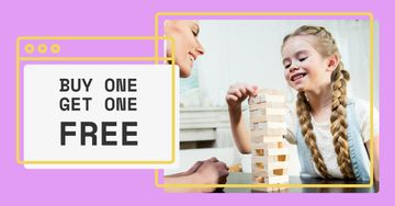 Game Offer with Mother and Daughter playing Jenga
