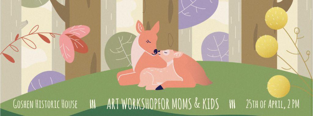 Deer embracing its kid — Modelo de projeto