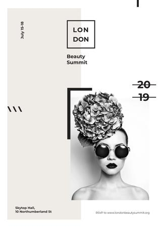 Girl in sunglasses and flowers at Beauty Summit Invitation Modelo de Design