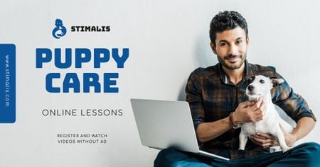 Template di design Online Courses Owner with Puppy Facebook AD
