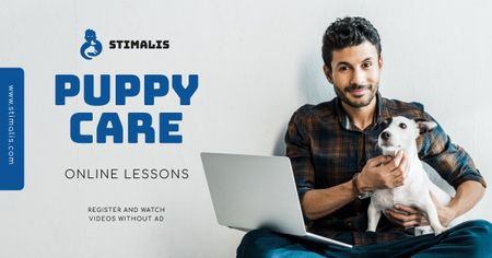 Online Courses Owner with Puppy Facebook AD – шаблон для дизайна