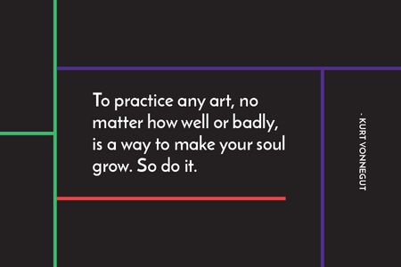Plantilla de diseño de Citation about practice to any art Gift Certificate