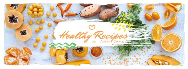 Healthy recipes with organic products on table Facebook cover Modelo de Design