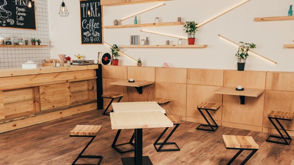 Cozy wooden empty Coffee Shop — Maak een ontwerp