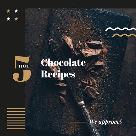 Dessert Recipes dark Chocolate pieces Instagram AD Design Template