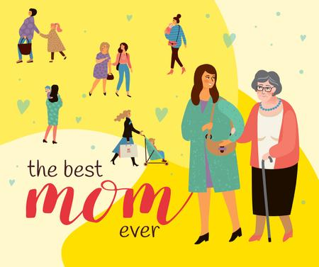 Happy Moms with their children on Mother's Day Facebook – шаблон для дизайну