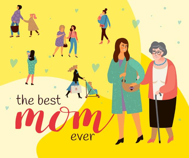 Happy Moms with their children on Mother's Day Facebookデザインテンプレート
