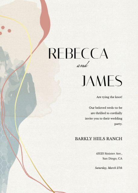 Plantilla de diseño de Wedding announcement on watercolor pattern Invitation