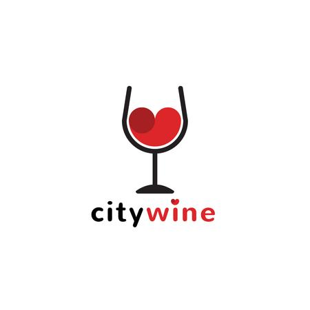 Wine Guide with Red Heart in Glass Logo Modelo de Design