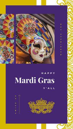 Template di design Mardi Gras Greeting Carnival Mask Instagram Story