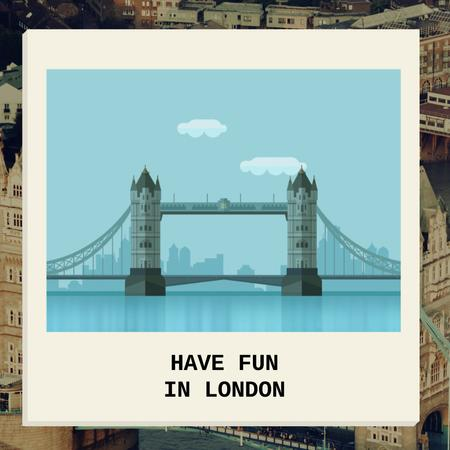 London Famous Travel Spot Animated Postデザインテンプレート