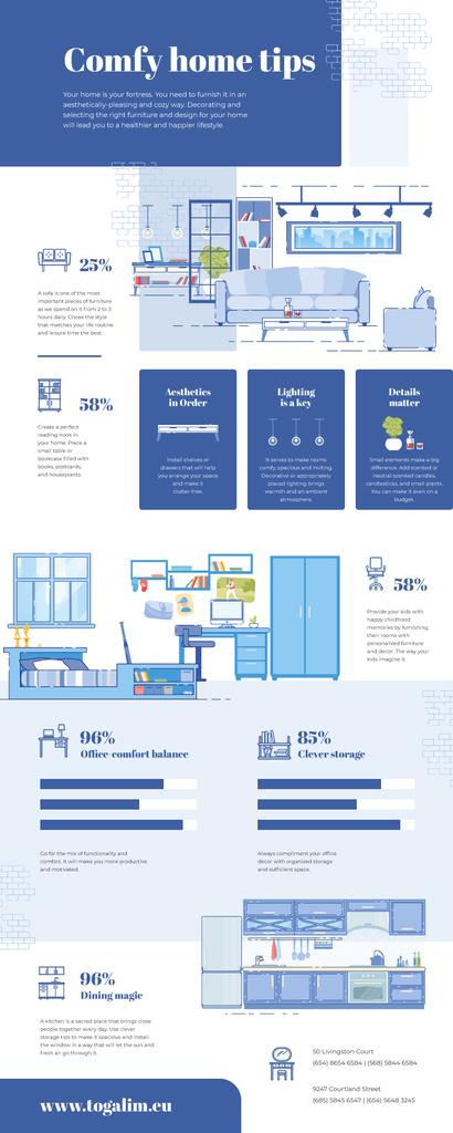 List infographics with Comfy Home tips — Maak een ontwerp