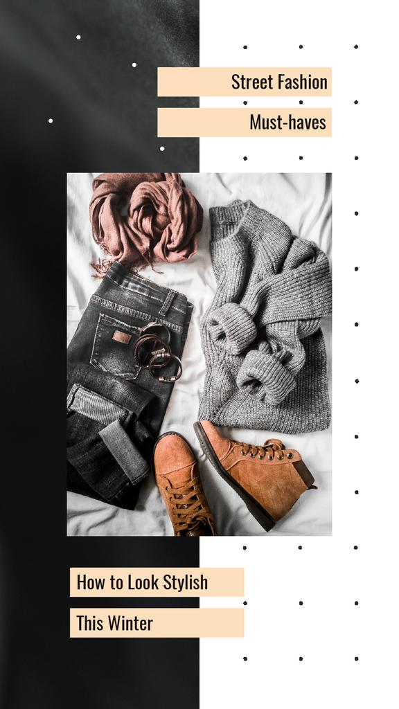 Fashion Ad with Casual Winter Outfit — Maak een ontwerp