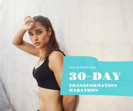 Fitness Marathon ad with Sportive woman Facebook Modelo de Design