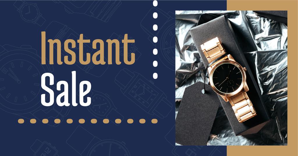 Luxury Accessories Ad with Golden Watch — Создать дизайн
