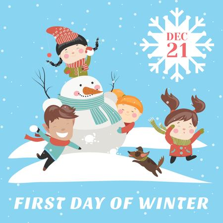 First day of winter with Сhildren making Snowman Instagram Design Template
