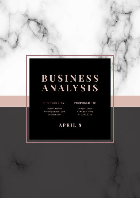 Plantilla de diseño de Business Analysis services offer on Marble pattern Proposal