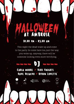 Halloween Night Party Scary Teeth | Invitation Template