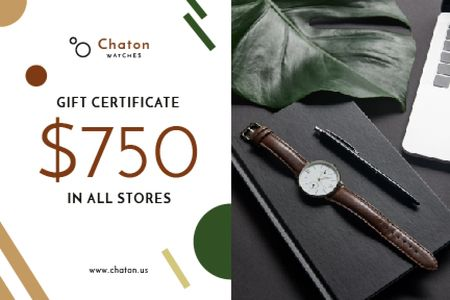 Ontwerpsjabloon van Gift Certificate van Accessories Store Offer with Watch and Notebook