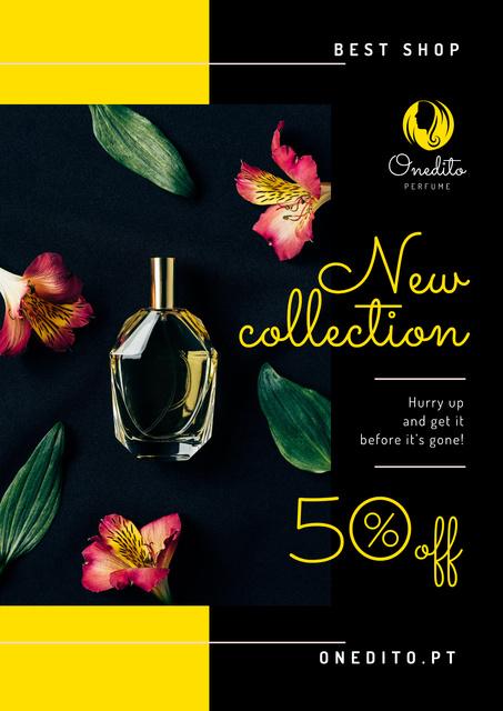 Plantilla de diseño de Perfume Offer with Glass Bottle in Flowers Poster