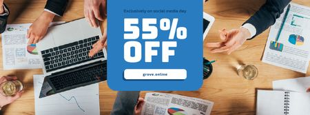 Social Media Day Offer with Colleagues Working on Report Facebook cover – шаблон для дизайну