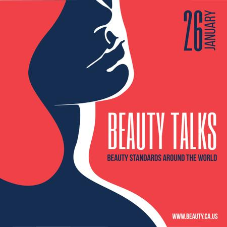 Ontwerpsjabloon van Instagram van Beauty talks Ad with Woman Silhouette