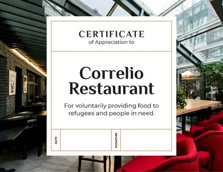 Template di design Restaurant Charity contribution Appreciation Certificate