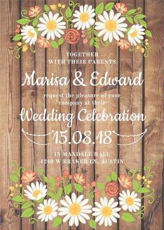 Modèle de visuel Wedding Invitation with Flowers on wooden background - Invitation