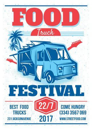 Food Truck festival announcement with Delivery Van Flayer Tasarım Şablonu