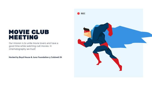 Plantilla de diseño de Movie Club Meeting Man in Superhero Costume Title