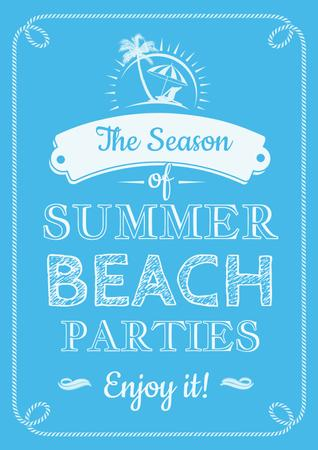 Plantilla de diseño de Summer beach parties season on blue Poster