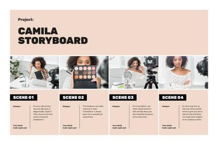Beauty blogger filming content Storyboard – шаблон для дизайна