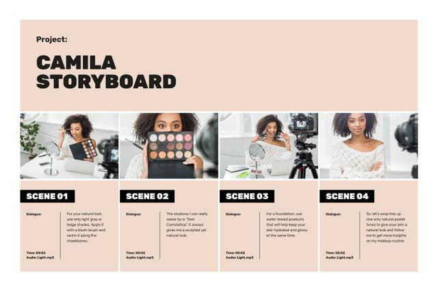Beauty blogger filming content Storyboard Design Template